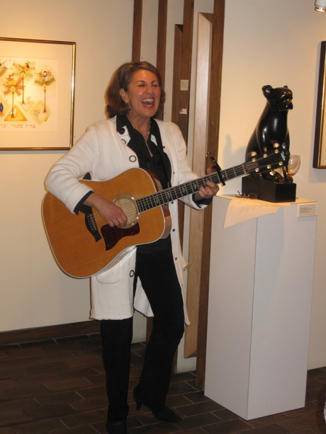 Peri Smilow sings at the Pucker Gallery in Boston David Sharir opening